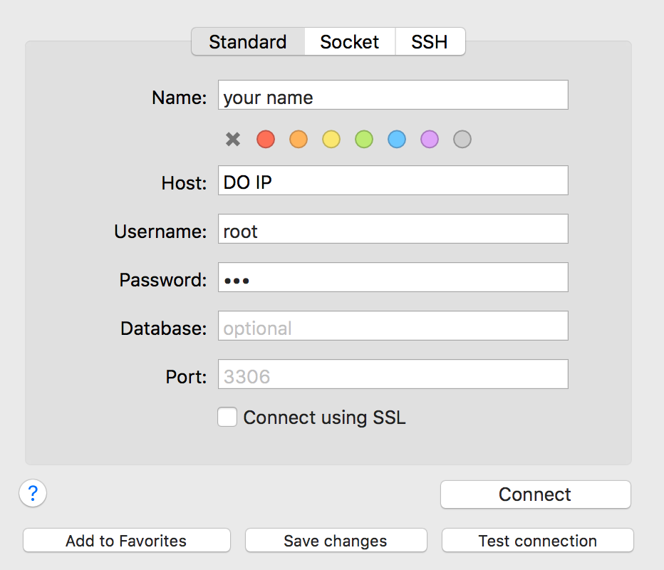 how to connect to server in mysql