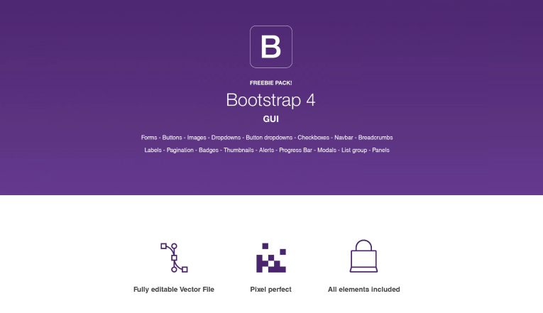 Bootstrap 4 Illustrator GUI pack
