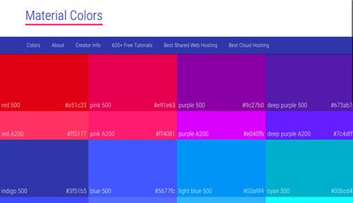 10个 MATERIAL DESIGN 配色方案的站点与工具-稀土区
