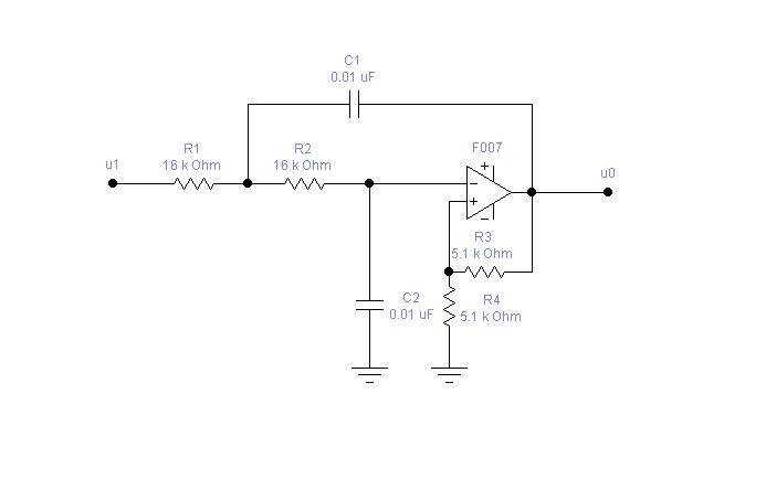 二阶RC有源低通滤波器实验电路图